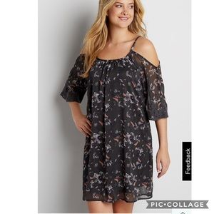 Maurices Grey Floral Cold Shoulder Chiffon Dress S